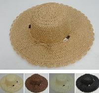Ladies Woven Summer Hat [Seashell Band] Scalloped Edge